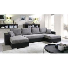 Canapé d'angle convertible en U ENNO gris et noir