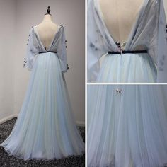 2017 Chic Prom Dress Long Sleeve A-line V-neck Blue Tulle Cheap Evening Dress Open Back Prom Dresses, Pretty Prom Dresses, V Neck Prom Dresses, Prom Dresses Long With Sleeves, Prom Dresses 2017, Cheap Evening Dresses, Dress Long, Formal Dresses, Ball Gowns
