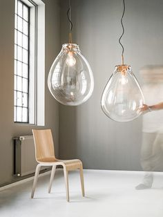 Bare Essentials | naked bulb Tim pendant lights by Bomma