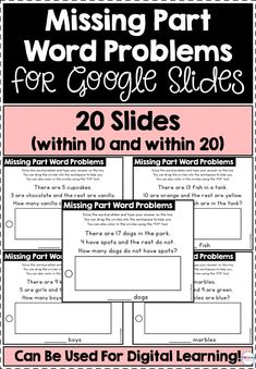 This resource includes 20 slides for missing part word problems. There are 10 word problems within 10 and 10 word problems within 20, and so you can easily differentiate to meet your students' needs. All slides include movable counters to help students solve the word problems. Learning Resources, Teacher Resources, Classroom Resources, Math Classroom, Teaching Tips, Teaching Math, Creative Teaching, Teaching First Grade, First Grade Math