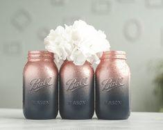 Glitter & Painted Mason Jar Centerpieces & by SprinkledandPainted Glitter Paint Mason Jars, Glitter Mason Jars, Mason Jar Crafts, Wedding Vases, Gold Wedding, Wedding White, Wedding Decorations, Houzz, Candy Hearts