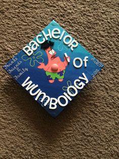 bachelor of wumbology grad cap idea. Funny Graduation Caps, College Graduation Pictures, Graduation Cap Designs, Graduation Cap Decoration, Nursing Graduation, Graduation Diy, Grad Cap, High School Graduation, Graduation Quotes
