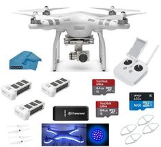 DJI Phantom 3 Advanced Quadcopter Drone with HD Camera EVERYTHING YOU NEED Kit + 2 DJI Extra Batteries + Prop Guards + 2 SanDisk 64GB Micro SD Cards + Reader + Koozam Light Strip + Headlight + Cloth drone reviews