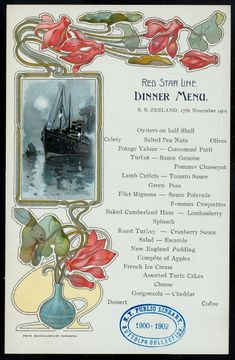 Illustration as it used to be. - Four art nouveau dinner menus for the Red Star. Vintage Menu, Vintage Posters, Nature Pictures, Cool Pictures, Prime Rib Of Beef, Currant Jelly, Restaurants, Retro Recipes, Old Paper