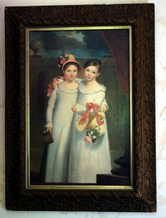 Lovely Giclee English Country Cottage Girls in Antique Frame