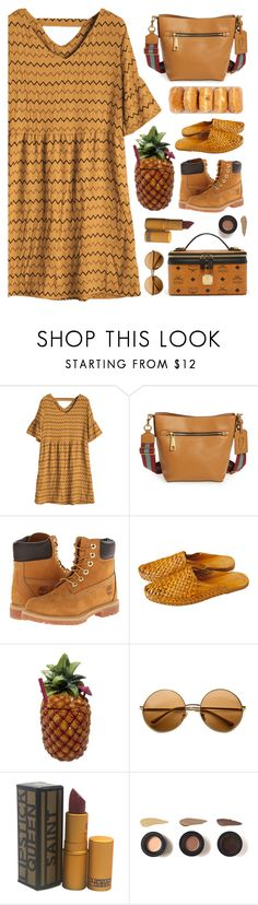 """""""Taste of Fall"""" by countrycousin ❤ liked on Polyvore featuring Marc Jacobs, Timberland, TIKI, Lipstick Queen and MCM"""