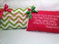 Red Christmas pillow embroidered with Buddy the elf by MamaBern