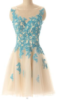 Champagne tulle with blue lace sleeveless knee length short party dress