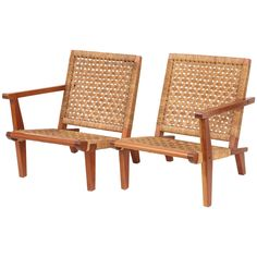 French Walnut and Woven Rush Pair of Chairs or Settee