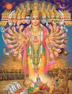 Krishna reveals himself to Arjuna from the Bhagavad gita