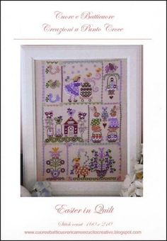 Easter in Quilt cross stitch pattern by Cuore e Batticuore at cottageneedle.com bunny rabbit Easter Eggs basket pastel April May Spring by thecottageneedle