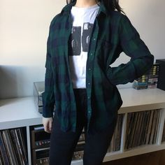 Navy Blue   Green Flannel 🌲 this flannel is really and goes - Depop Green  Flannel bd56df239