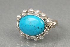 Artículos similares a Alambre envuelto anillo plata con piedras preciosas turquesa ovalada y blanca Swarovski perlas de tamaño 4, 5, 6, 7, 8, 9, 10, 11, 12, 13, 14 en Etsy