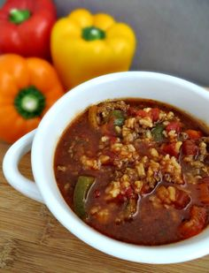 Crock Pot Stuffed Pepper Soup perfect for chilly winter nights. So easy to make and so filling!