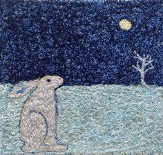 Hare and Moon 7 embroidered artworkstitched by ImagineNorth