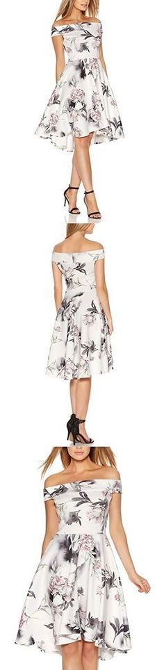 Fantaist Women's Off Shoulder Floral Print Elegant Evening Vintage A Line Dress (10, FT602-White)