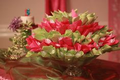 Party Centerpiece - Floral Bouquet - made from napkin-wrapped utensils in greens and pinks - Beautiful!