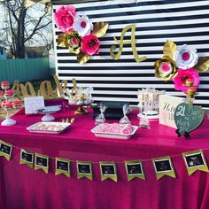 Pink, black and white stripe Baby shower