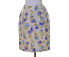 """Talbots Ivory Blue Green Floral Print """"Pure Silk"""" Lined Straight Skirt Size 6 #Talbots #Straight"""