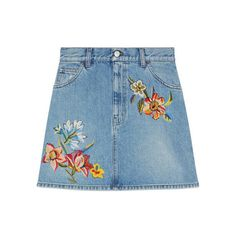 Gucci Embroidered Denim Mini Skirt ($1,600) ❤ liked on Polyvore featuring skirts, mini skirts, high waisted mini skirt, flower skirt, blue mini skirt, short skirts and blue skirt