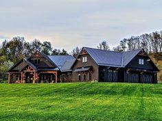 Beautiful Home Designs, Beautiful Homes, Cabin Design, House Design, Barn House Plans, Lodge Style, Metal Buildings, Barndominium, Future House