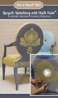 How to Stencil VIDEO Tutorial: Upcycle Upholstery with Chalk Paint and Furniture Stencils from Royal Design Studio
