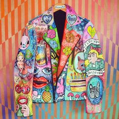 FRONT OF THE JEANIE JACKET - PHINEY PET (2015) - hand painted leather.