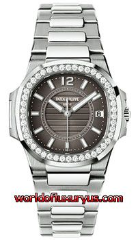 7010-1G-010 - This Patek Philippe Nautilus Womens Watch, 7010-1G-010 features 32.0 mm 18k White Gold case, Charcoal Grey dial, Sapphire crystal, Fixed bezel, and a 18k White Gold Bracelet. Patek Philippe Nautilus Womens Watch, 7010-1G-010 also features Quartz Movement, Analog display, Date at 3 o'clock. This watch is water resistant up to 50m / 165ft. - See more at: http://www.worldofluxuryus.com/watches/Patek-Philippe/Nautilus/7010-1G-010/46_58_8058.php#sthash.ZSm7MFhy.dpuf