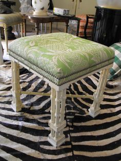 Hollywood  Regency Faux Bamboo Wood Stool Pineapple Upholestery Palm Beach Style on Etsy, $249.00