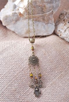 Dream catcher beaded pendant Hamsa hand chain necklace by Estibela