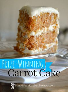 Blue Ribbon Kitchen: Prize-Winning Carrot Cake: Eating your Vegetables. - Blue Ribbon Kitchen: Prize-Winning Carrot Cake: Eating your Vegetables. I have been searching for just the right recipe and I think I have finally fou. Carrot Recipes, Baby Food Recipes, Sweet Recipes, Baking Recipes, Dessert Recipes, Dessert Blog, Juice Recipes, Just Desserts, Delicious Desserts