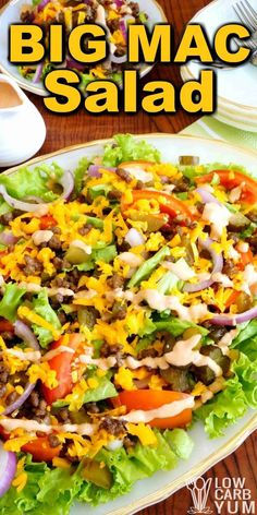 Try this Big Mac salad when you're in the mood for one of the famous fast food burgers. It's easy to assemble this low carb hamburger salad at home. | LowCarbYum.com via @lowcarbyum