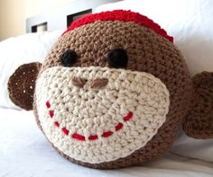 Crochet Sock Monkey Pillow via Etsy-SO cute!