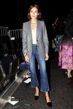 Alexa Chung // grey blazer, nude shirt, bunny bag, cropped flare denim & loafers #style #fashion #flares #jeans #celebrity