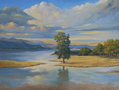 Sunset over lake. Oil painting on canvas