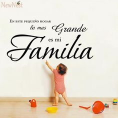 """art and craft pictures on sale at reasonable prices, buy """" En este pequeno hogar lo mas grande es mi Familia """" Spanish Vinyl Wall Decal Quote Stickers Home Decoration Wall Art Mural from mobile site on Aliexpress Now! Vinyl Wall Decals, Wall Stickers, Anything Is Possible Quotes, Familia Quotes, Inmobiliaria Ideas, Sticker Citation, Family Love Quotes, Family Wall Decor, Prayer For Family"""