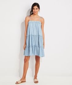 Shop Gustavia Block Print Tiered Chambray Dress at vineyard vines Chambray Dress, Chic Dress, Vineyard Vines, Cover Up, Summer Dresses, Clothes, Shopping, Women, Tea