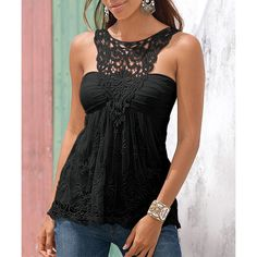 $12.47 Fashionable Scoop Neck Lace Splicing Backless Tank Top For Women