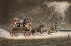 Print of painting by James Pollard showing a mail coach decorated in black and scarlet Royal Mail livery near Newmarket, Suffolk in Guard can be seen standing at rear Four Horses, Coach Travel, Uk History, British History, Family History, Regency Era, Images Google, Horse Drawn, Ancient Rome