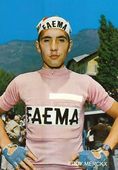 Eddy Merckx  .... pretty in pink   I love that the older cycling jerseys didn't have 101 different names on them.