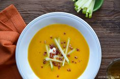 Butternut Squash Apple Soup- leave out the pancetta, and you would have a perfectly vegetarian soup!