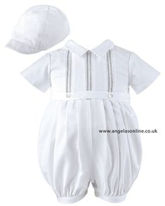 7cce4488 Sarah Louise Baby Boys Smart   Special Occasion Ivory Romper   Hat 209