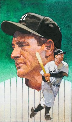 Baseball Art - Lou Gehrig, by Bart Forbes My Yankees, Yankees News, New York Yankees Baseball, Baseball Art, Baseball Painting, Lou Gehrig, Mlb Players, Mlb Teams, Sports Stars