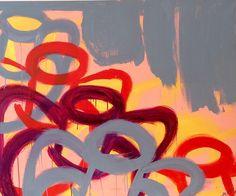 """Abstract"". ""Abstrakt"". Height: 100cm Width: 120 cm.  Copyright by  www.anne-mette.com #copyright #maleri #painting #walldecor #walldecoration #vægdekoration #væg #rød #gul #grå #purple #danishartist #danishart #modernart #email #kunst@anne-mette.com"
