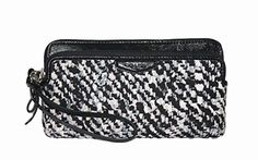 Coach Donegal Black White Double Zip Wristlet 52287