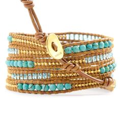 Chan Luu - Turquoise Crystal Mix Wrap Bracelet on Hanna Leather, $295.00 (http://www.chanluu.com/wrap-bracelets/turquoise-crystal-mix-wrap-bracelet-on-hanna-leather/)