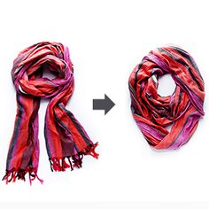 This tutorial will show you how to turn a regular scarf into an infinity scarf in minutes.  (With no sewing!)