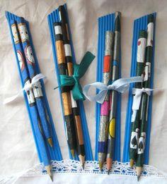 Lápices y lapiceras pintados a mano
