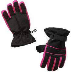 Girls Swiss Tech Black Ski Gloves, Size: S/M