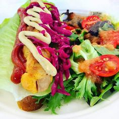 When we say our Vegan Hot Dogs are  we mean it! Eat #foods you love without the side of guilt! #VeganLife  #PomegranateCafe #PomegranateLosAngeles #LosAngeles #LAVegan  #Repost @joesveganfoodgram  VEGAN HOT DOG  House-made Sausage Romaine Pickled Red Cabbage Mustard & Ketchup with Green Salad  Tomato  Dressing from @pomegranate_losangeles #vegan #hotdog #veganhotdog #pomegranatelosangeles #vegansofig #veganfoodshare #veganfood #veganfoodporn #vegansofinstagram #whatveganseat #govegan…